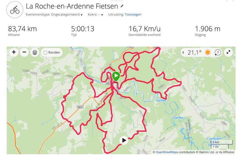 MTB routes La Roche Garmin Connect