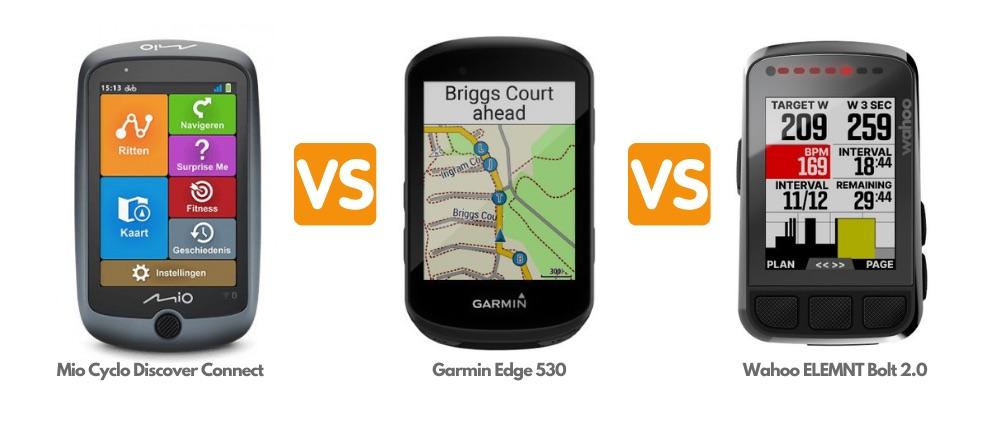 Mio Cyclo Discover Connect vs Garmin Edge 530 vs Wahoo ELEMNT Bolt 2.0