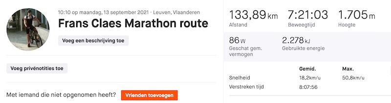 Frans Claes marathon route Strava statistieken